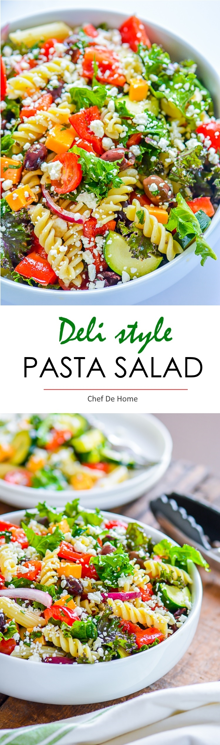 Deli style easy and healthy pasta salad with crunchy vegetarian and healthy touch of kale | chefdehome.com