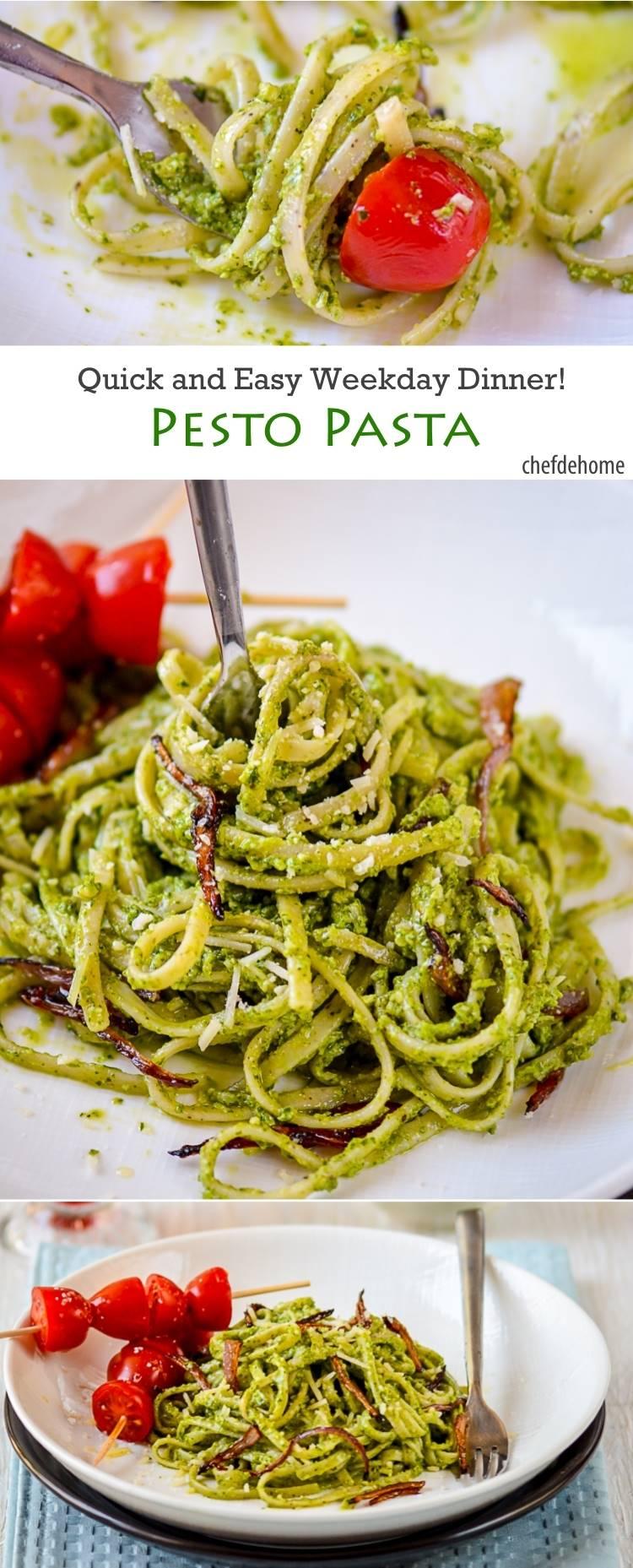 Basil Pesto Pasta Linguine | chefdehome.com