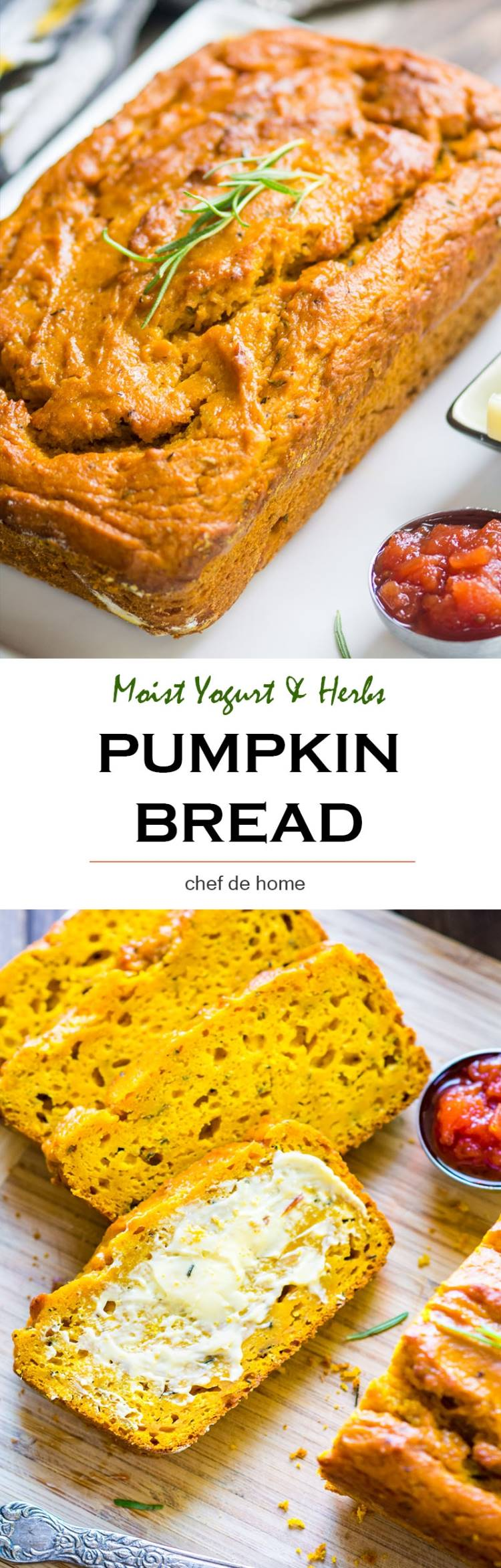 Fall favorite recipe of easy Pumpkin Bread for breakfast or dunk in soup for dinner | chefdehome.com