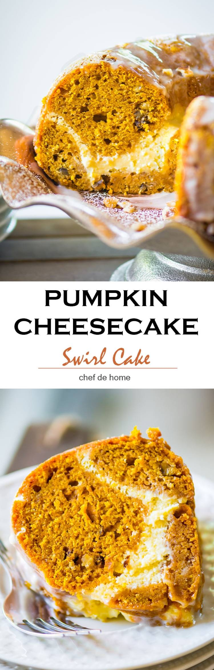 Moist and decadent Pumpkin Cake baked in bundt pan with citrus cheesecake swirl in the middle | chefdehome.com