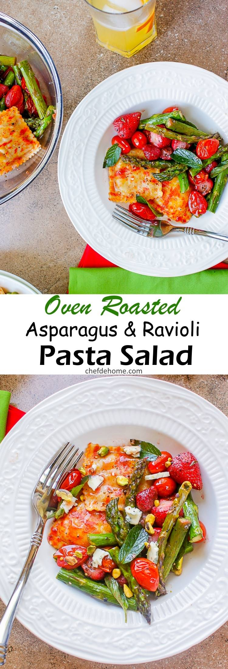 Oven Roasted Asparagus Pumpkin Ravioli Pasta Salad with Juicy Roasted Strawberries and Orange Dressing | chefdehome.com