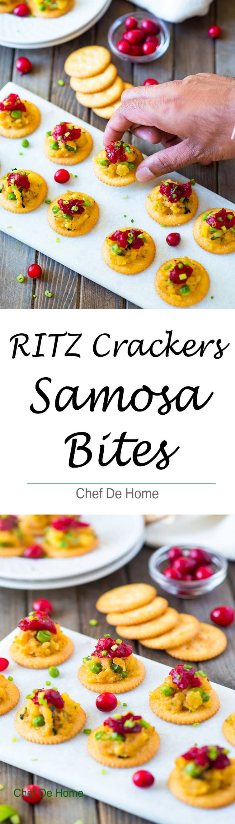 Samosa filling and cranberry chutney topped on Ritz Crackers for easy party appetizer | chefdehome.com
