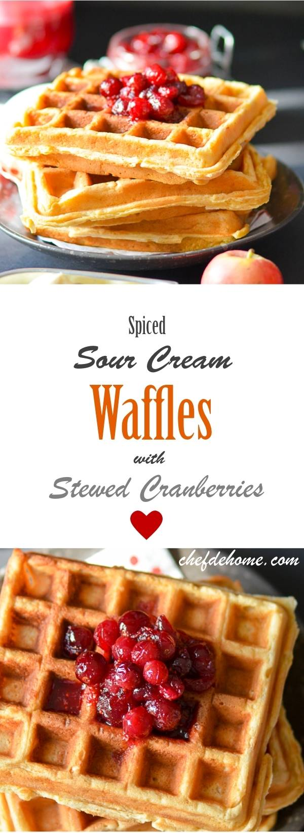 Spiced Waffles with Stewed Cranberries | chefdehome.com
