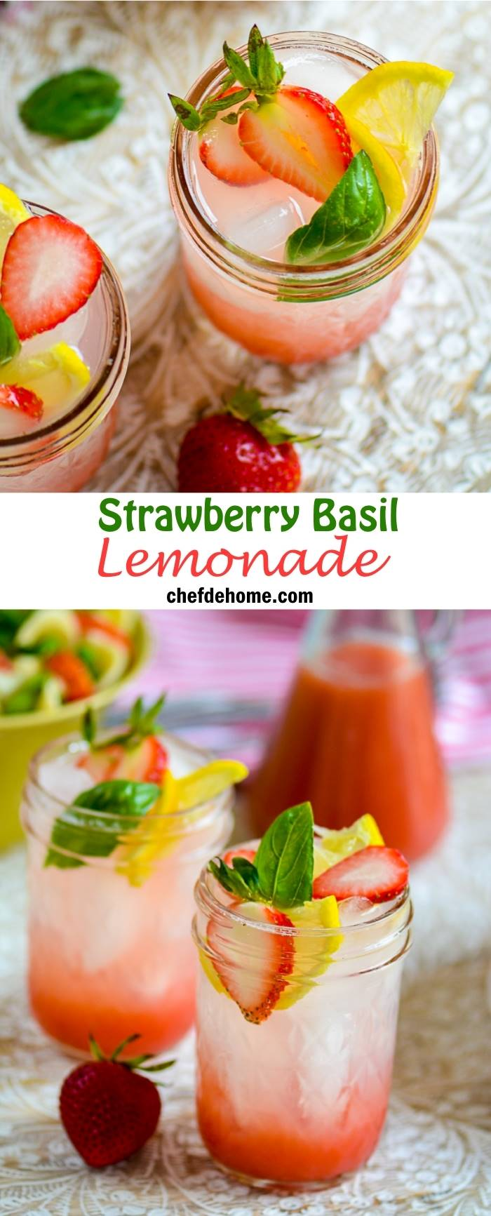 Easy Refreshing Fruity Strawberry Basil Lemonade | chefdehome.com