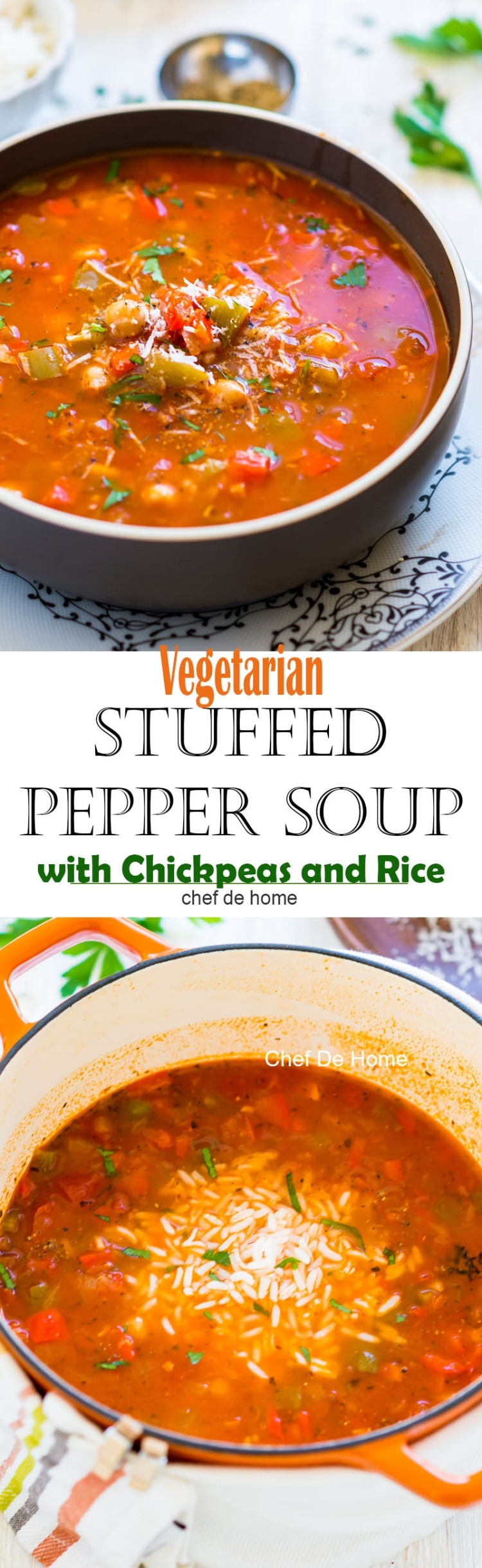 Easy homemade vegetarian stuffed pepper soup with two kind of peppers chickpeas and rice gluten free | chefdehome.com
