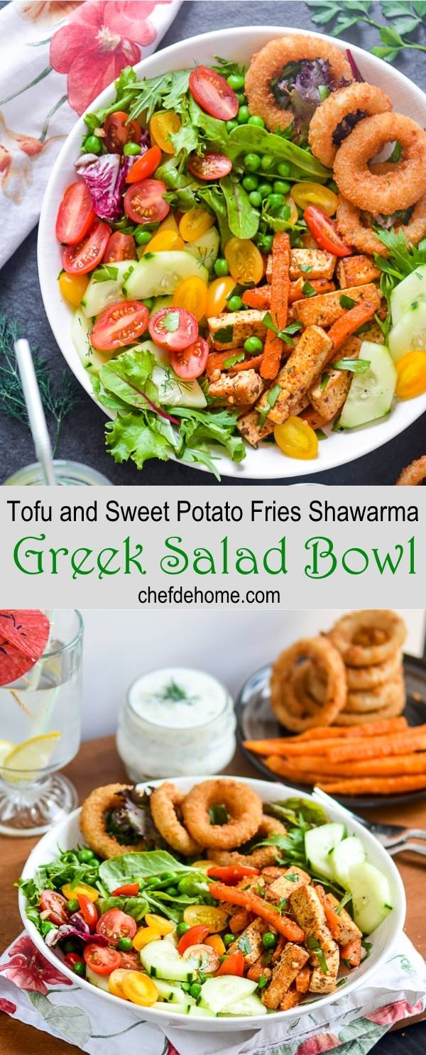 Vegetarian Tofu and Sweet Potato Fries Greek Shawarma Salad Bowl | chefdehome.com