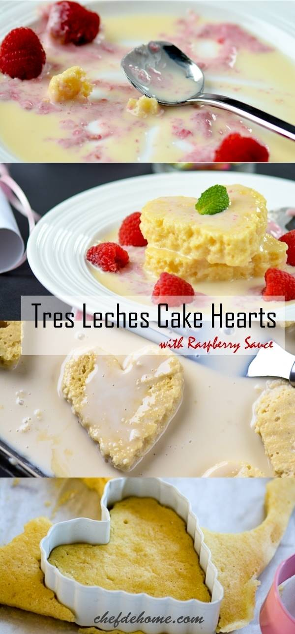 Mexican Dessert Tres Leches for Valentine Day as Cake Hearts soaked in milk