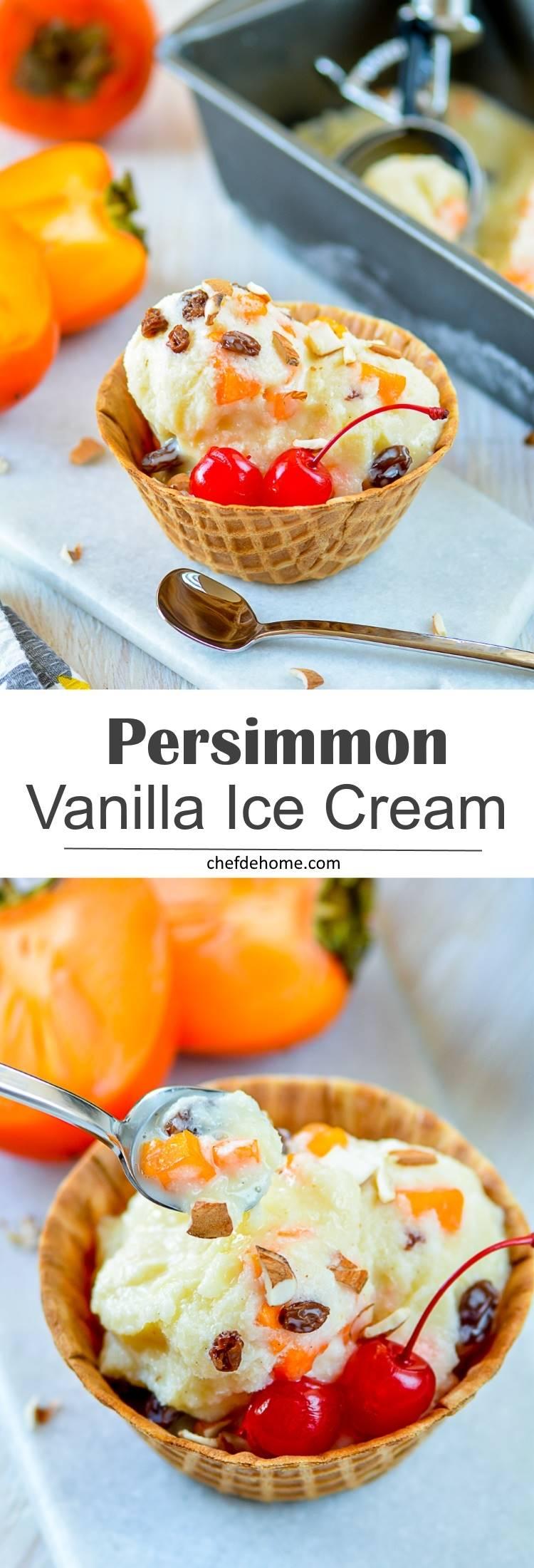 Homemade Creamy Persimmon Vanilla Ice Cream | chefdehome.com