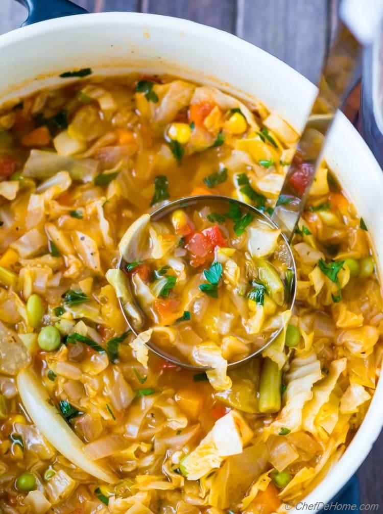 Vegetarian cabbage soup recipe chefdehome easy vegetarian cabbage soup recipe made with fresh ingredients and ready in just 25 minutes forumfinder Image collections