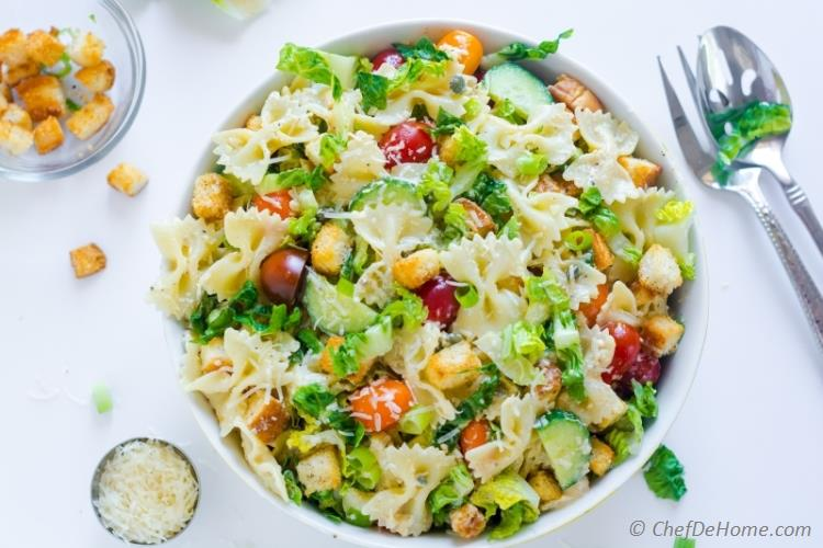 Potluck Salad with Crunchy Romaine, Pasta and Caesar Dressing