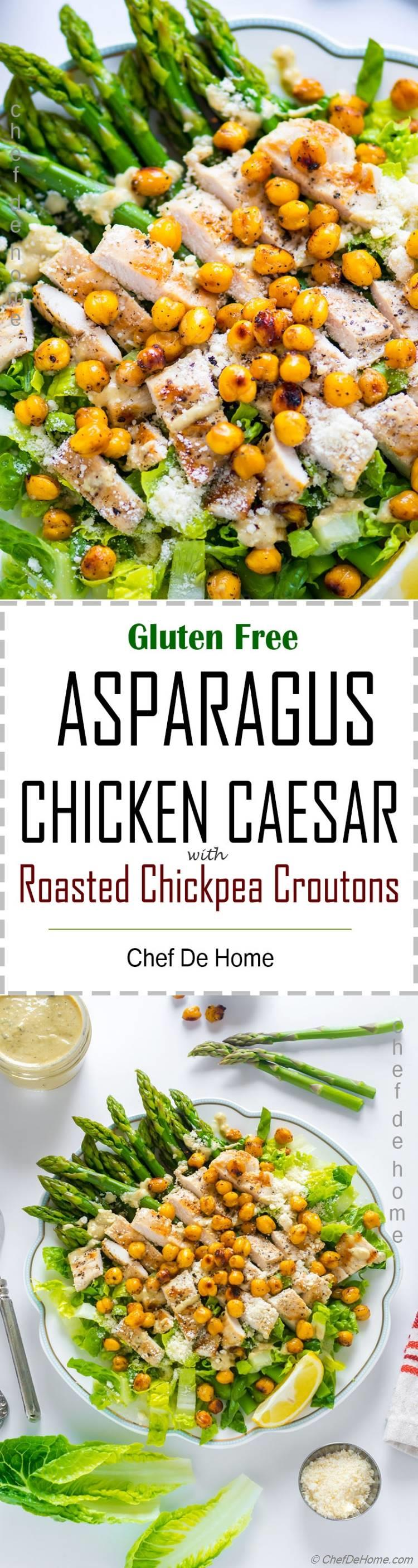 Caesar Salad with asparagus grilled chicken and roasted chickpeas croutons