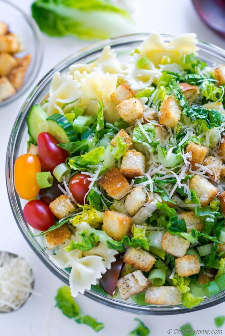 Summer Caesar Pasta Salad with creamy dressing