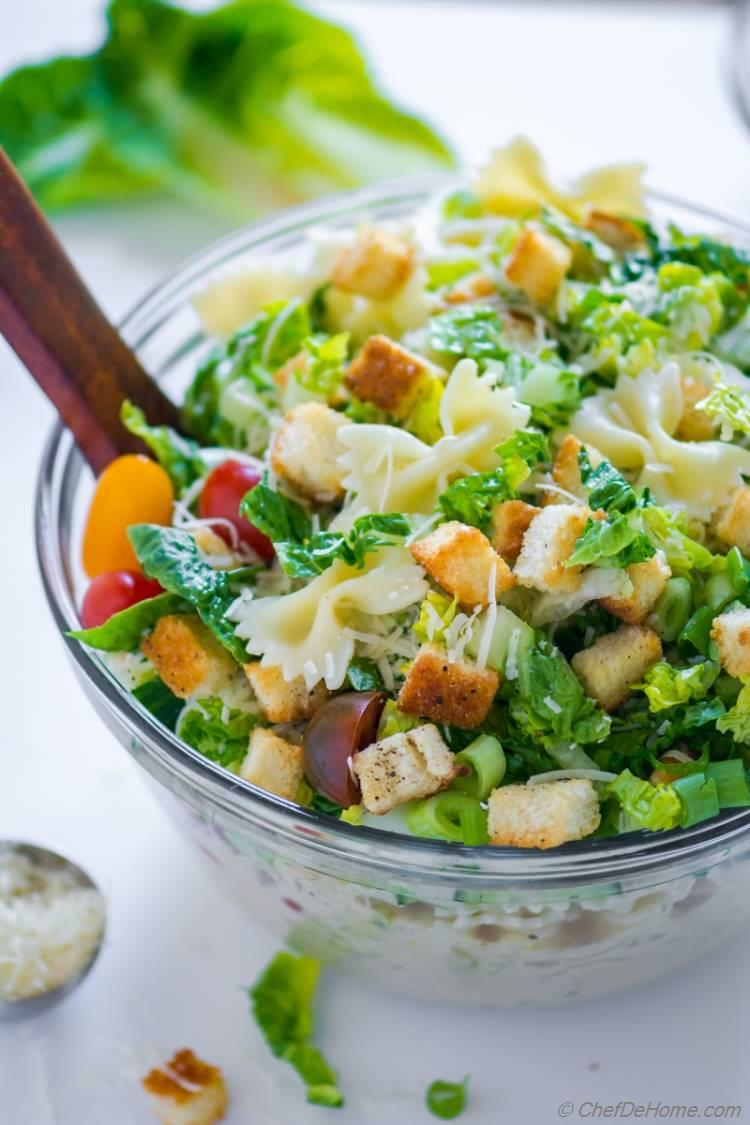 Pasta Salad with Romaine and Caesar Dressing