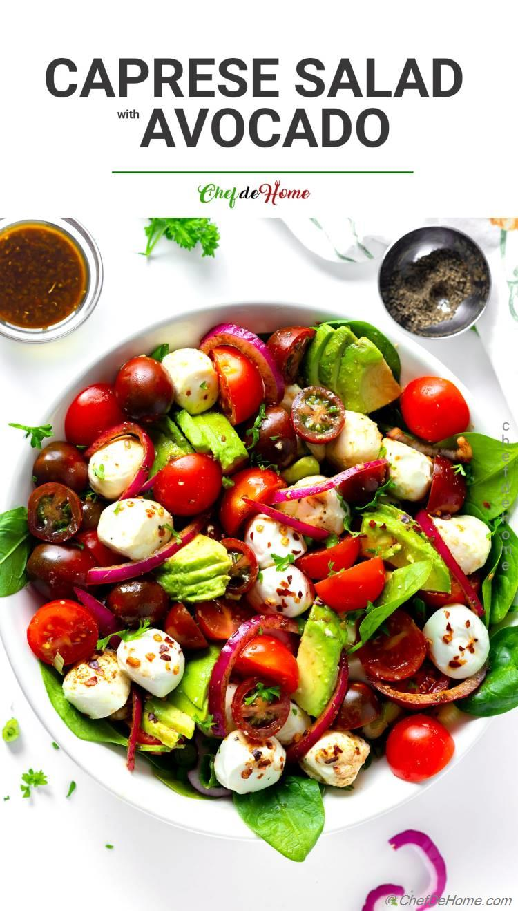 Caprese Salad with Avocado and Balsamic Dressing