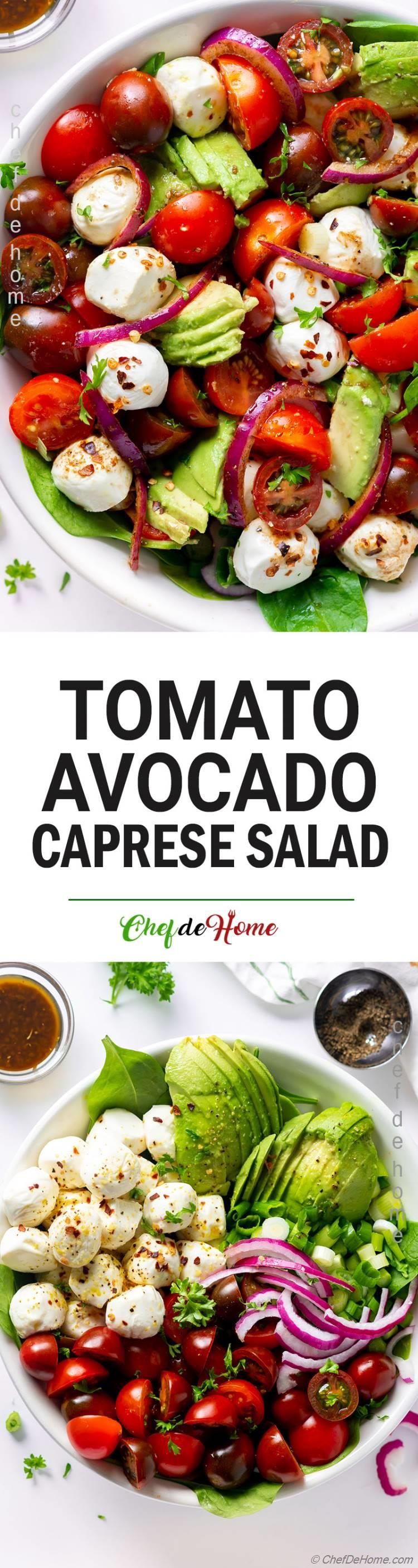 Keto Mozzarella Tomato Avocado Salad