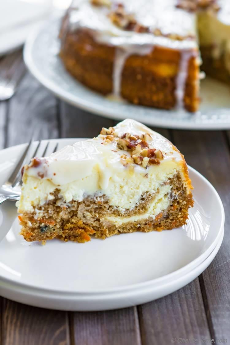 Carrot Cake Cheesecake slice made at home and ready to eat | chefdehome.com