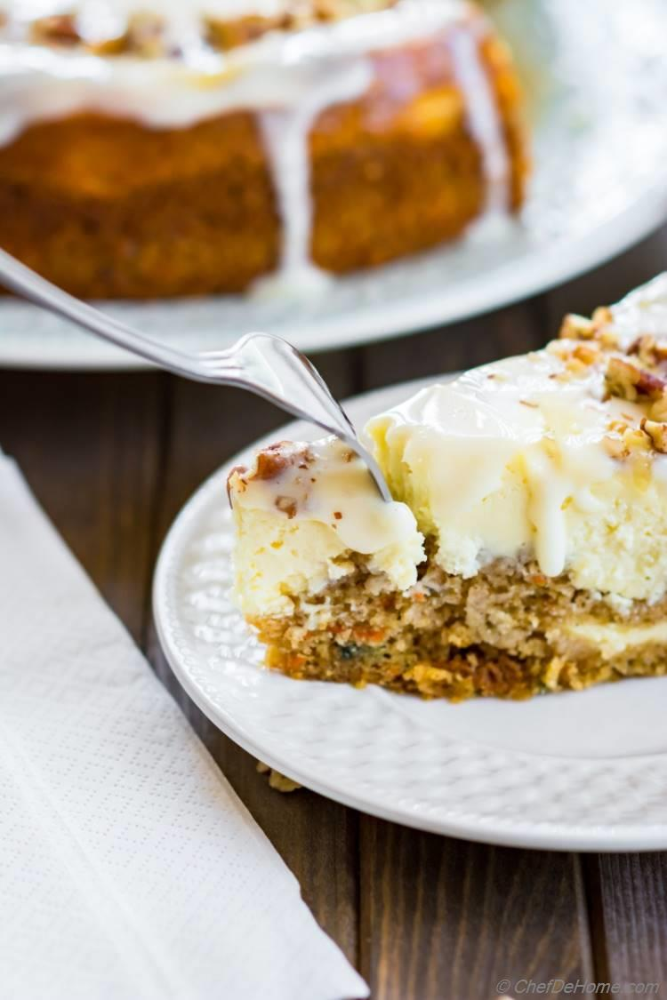 Homemade easy and baked in one pan spiced carrot cake layered with sour cream cheesecake | chefdehome.com