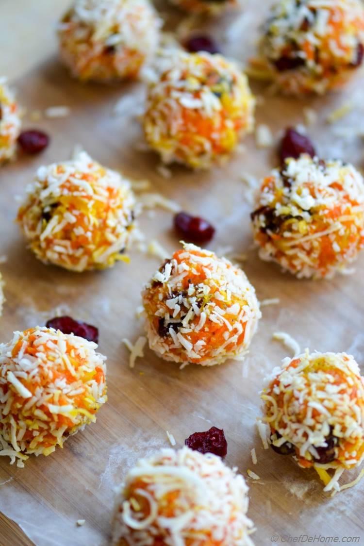 Indian Gajar Halwa Ladoo - Sweet Carrot and Coconut Truffles