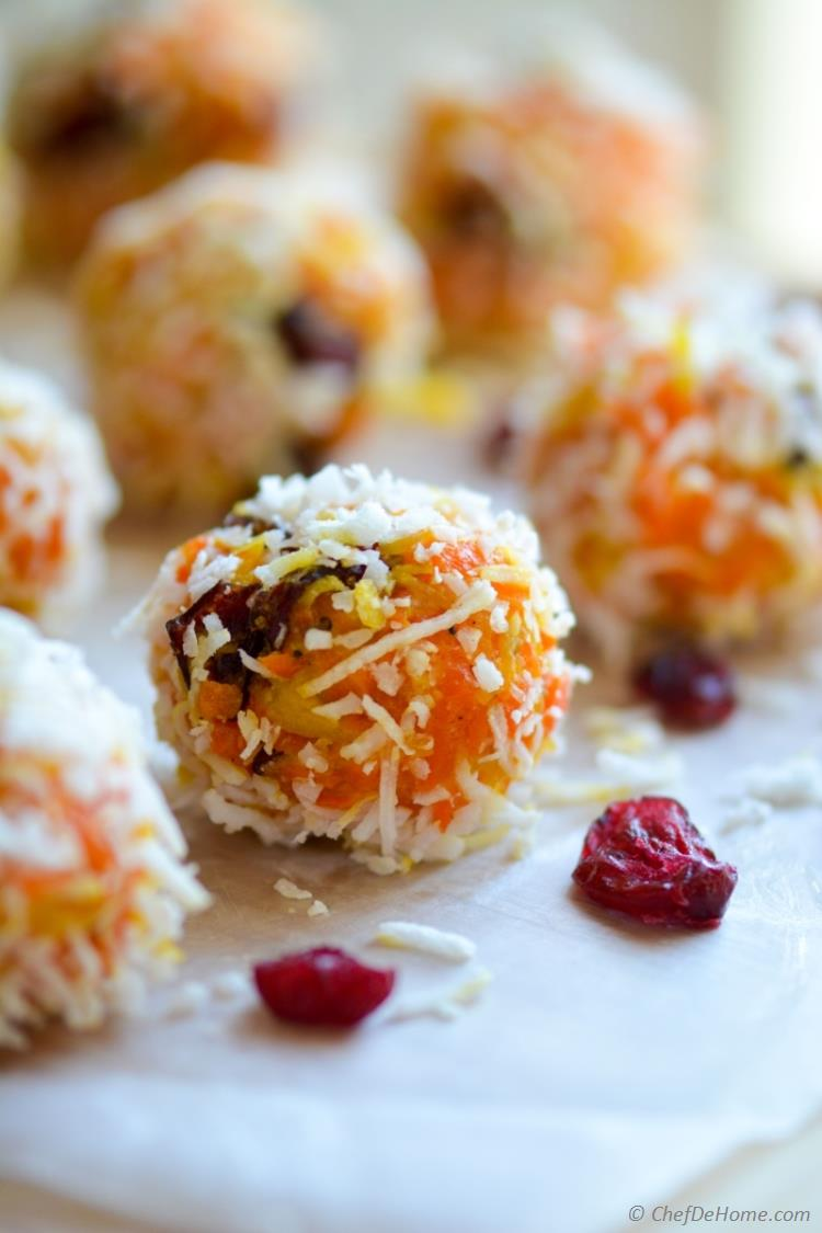 Carrot Halwa and Coconut Ladoos - Carrot Halwa Truffles Taste like Slow Cooked Creamy Carrot Fudge Cookies.