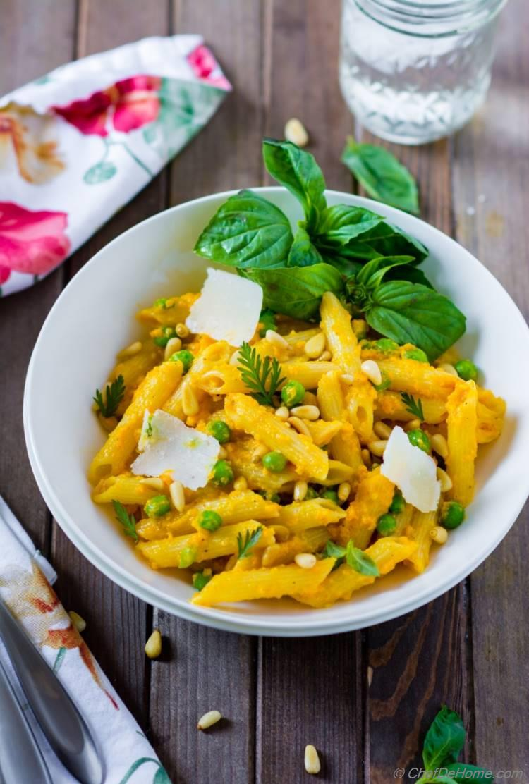 Penne pasta with Carrot Pasta Sauce and fresh basil