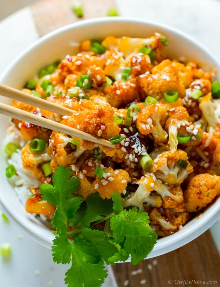 sweet and sour cauliflower stir fry with rice | chefdehome.com