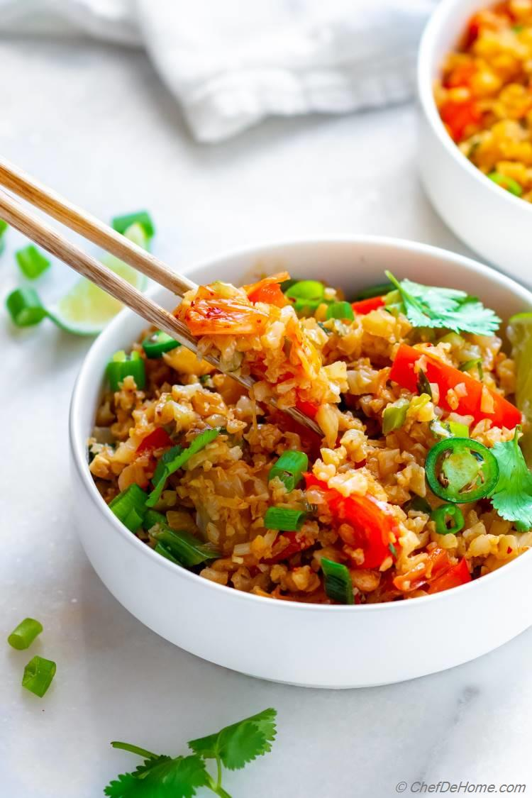 Spicy Kimchi Cauliflower Fried Rice