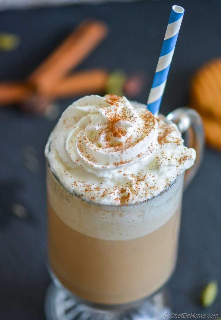 Lite and full flavor homemade Chai Tea Frappuccino | chefdehome.com