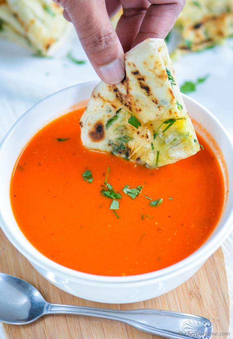 Garlic Cheese Naan served with Roasted Red Pepper Soup | chefdehome.com