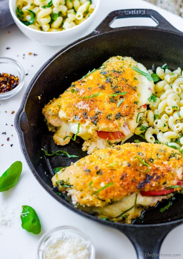 Caprese chicken recipe with parmesan crusted chicken and herb pasta