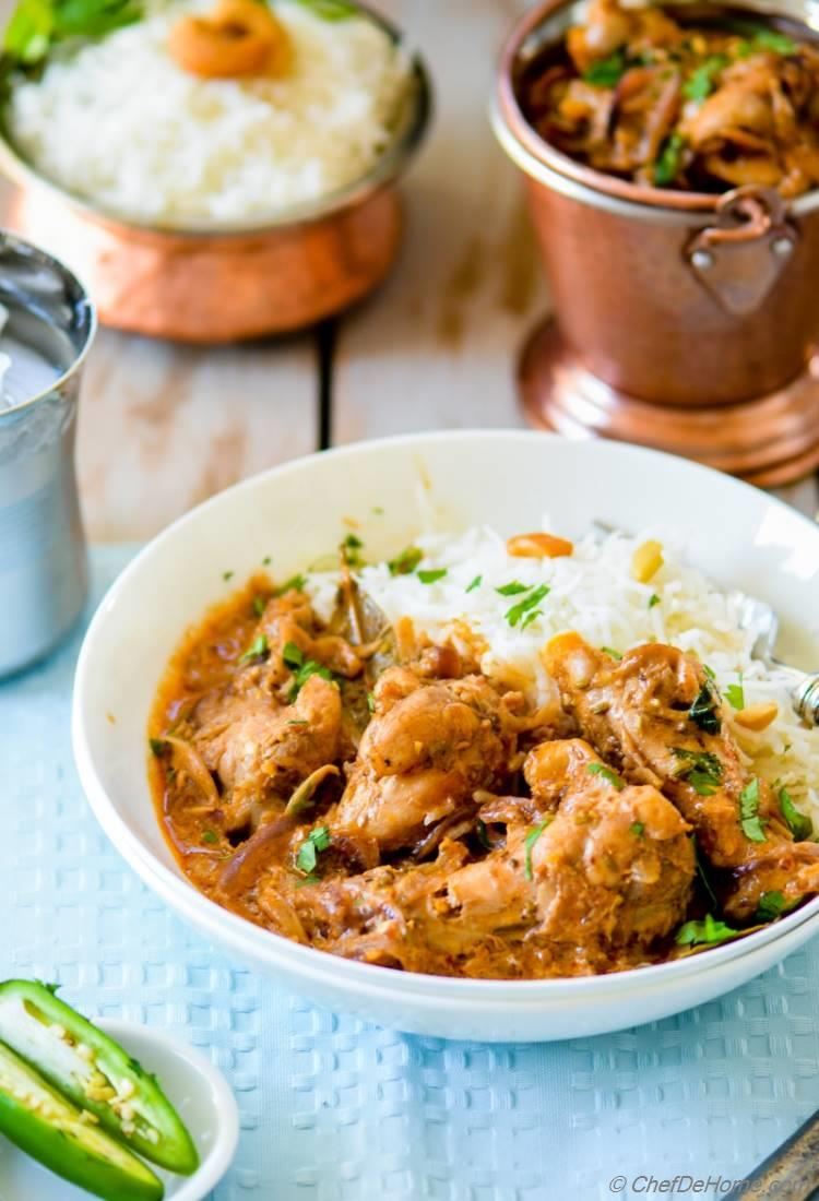 Authentic Chicken Korma Curry for an effortless easy Indian Chicken Dinner at home | chefdehome.com