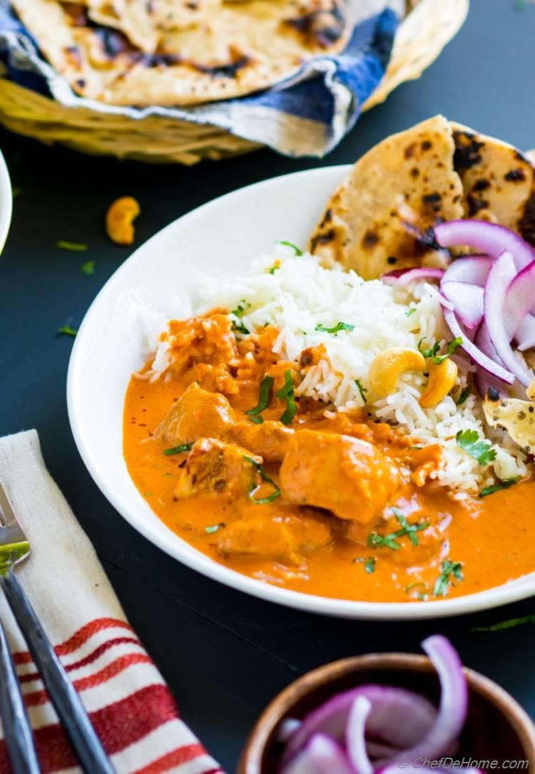 Homemade Chicken Tikka Masala with rice and naan and papdam | chefdehome.com