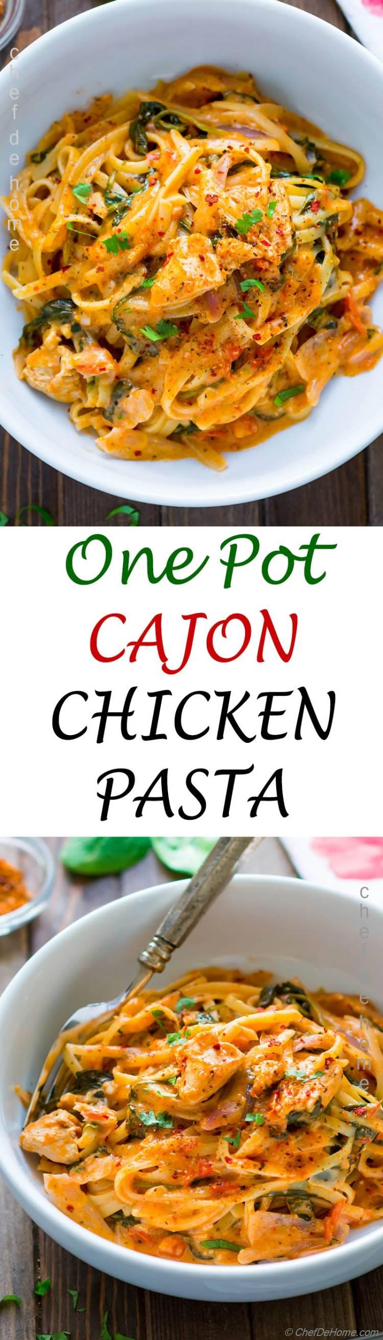 Easy Chicken and Pasta Dinner with Cajon seasoned chicken spaghetti and creamy cajon pasta sauce all prepared in one pot | chefdehome.com
