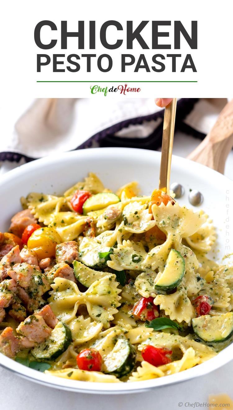 Best Chicken Pesto Pasta Dinner skillet with creamy pasta sauce