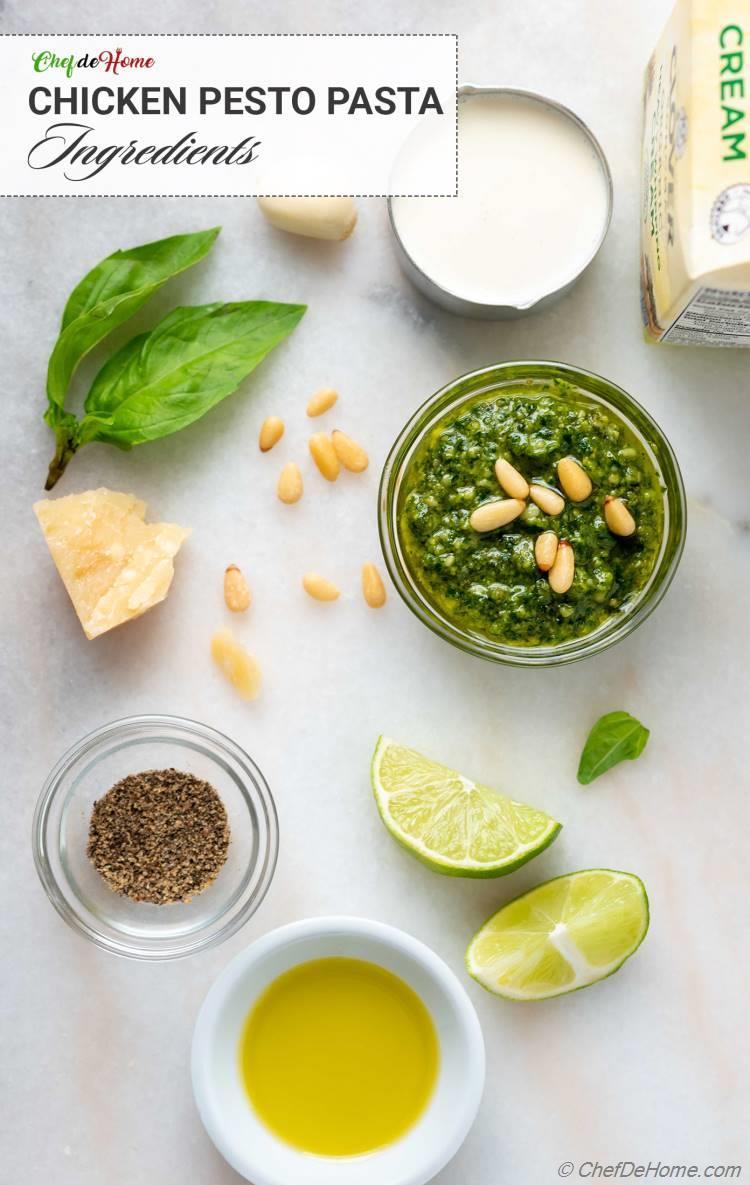 Pesto Pasta Sauce Ingredients to make Chicken Pesto Pasta