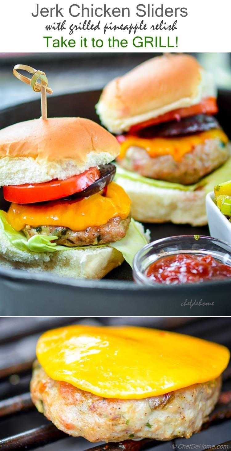 Spicy Grilled Chicken Sliders with Grilled Pineapple Salsa | chefdehome.com