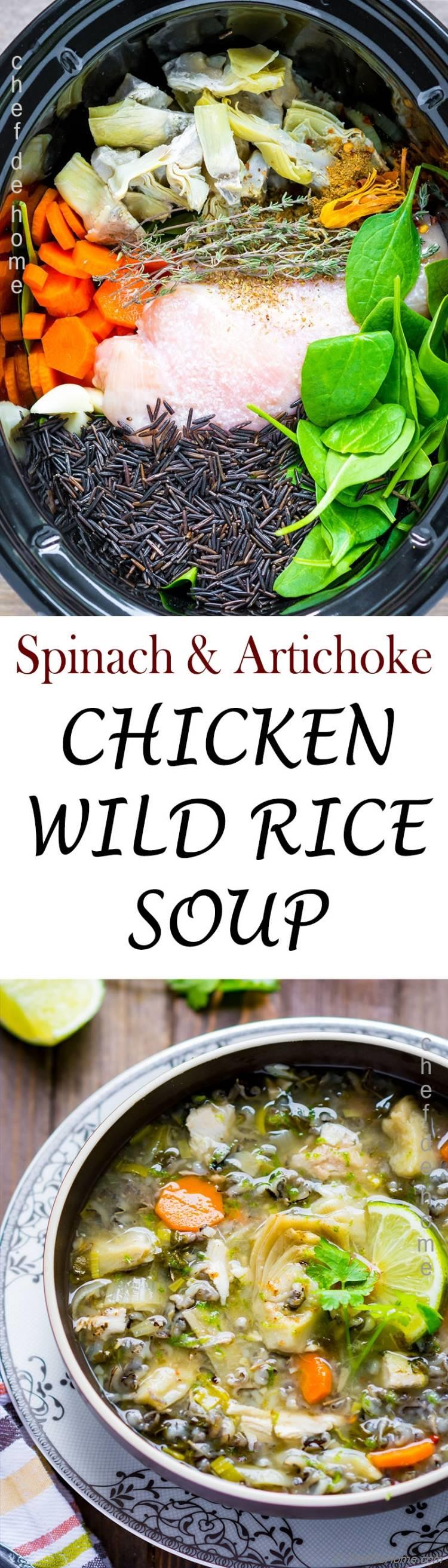 Nourishing Wild Rice and Chicken Soup prepared in slow cooker and can be served clean gluten free or creamy | chefdehome.com