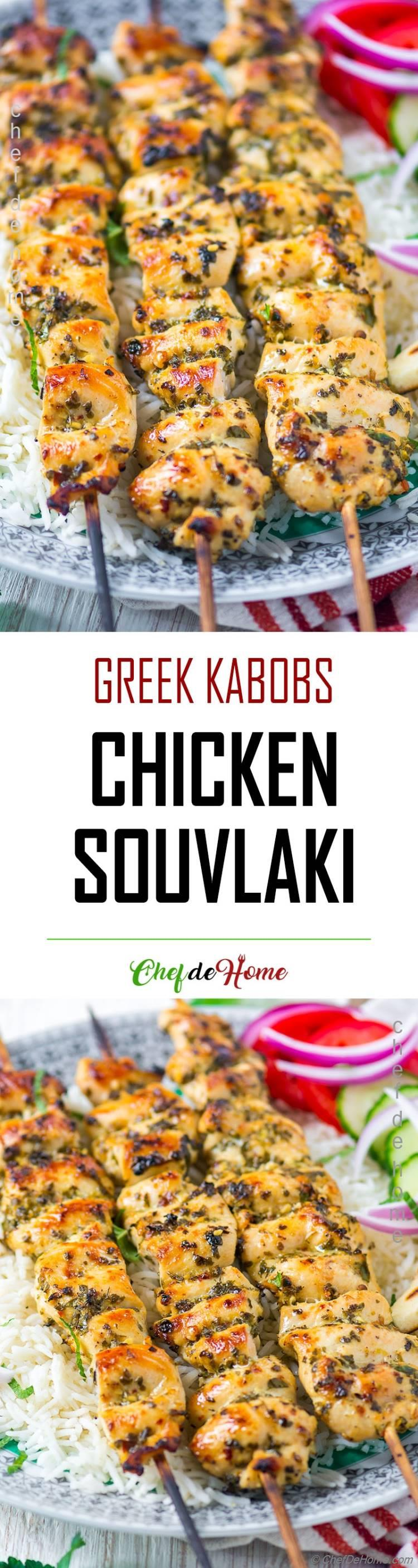 Chicken Souvlaki Kabobs recipe with rice and pita