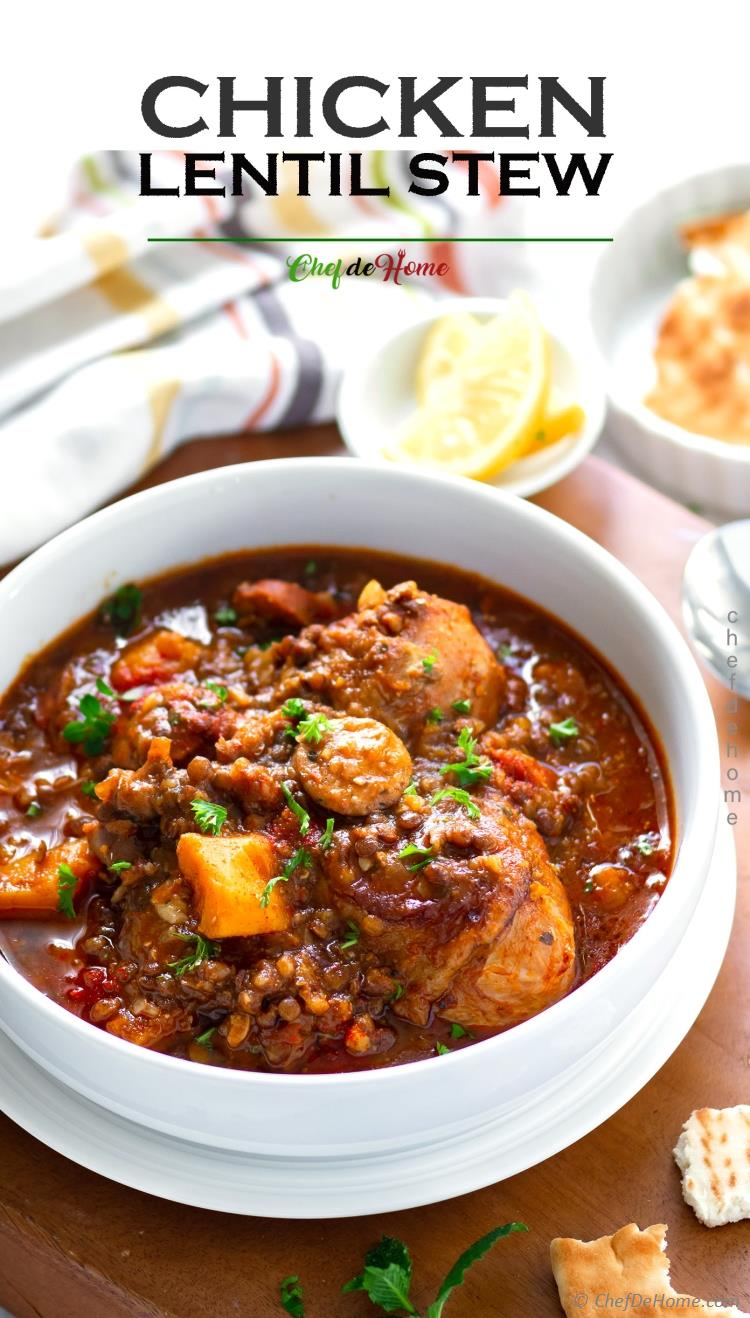 Chicken Stew with Sweet Potatoes and Lentils