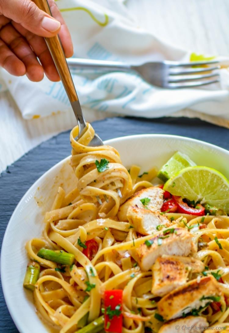 Chicken tequila fettuccine recipe chefdehome just one sauce for marinating chicken and cooking a flavorful lime cream pasta sauce chefdehome forumfinder Gallery
