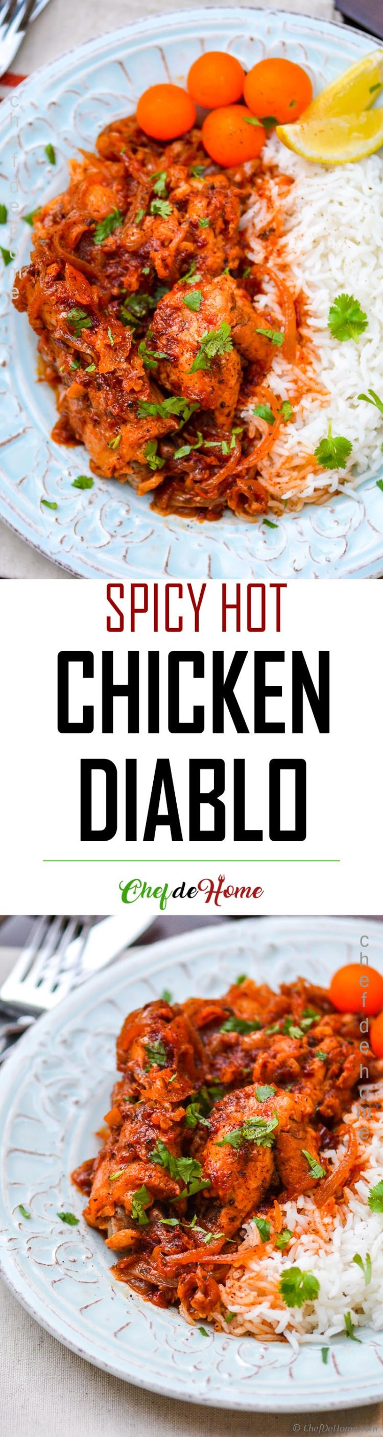 Chicken cooked with spicy hot Diablo Sauce