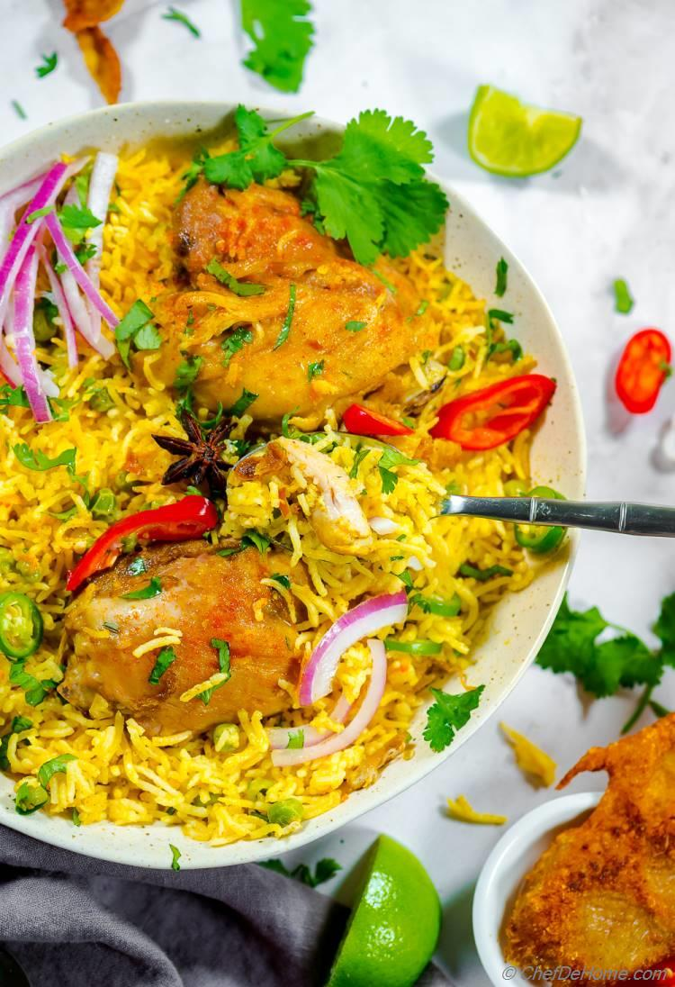 Chicken and Rice Recipe with flavorful yellow curry paste