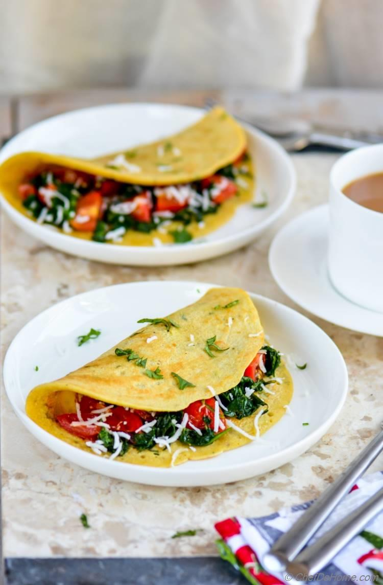 Vegan Chickpea Flour And Spinach Omelets   chefdehome.com