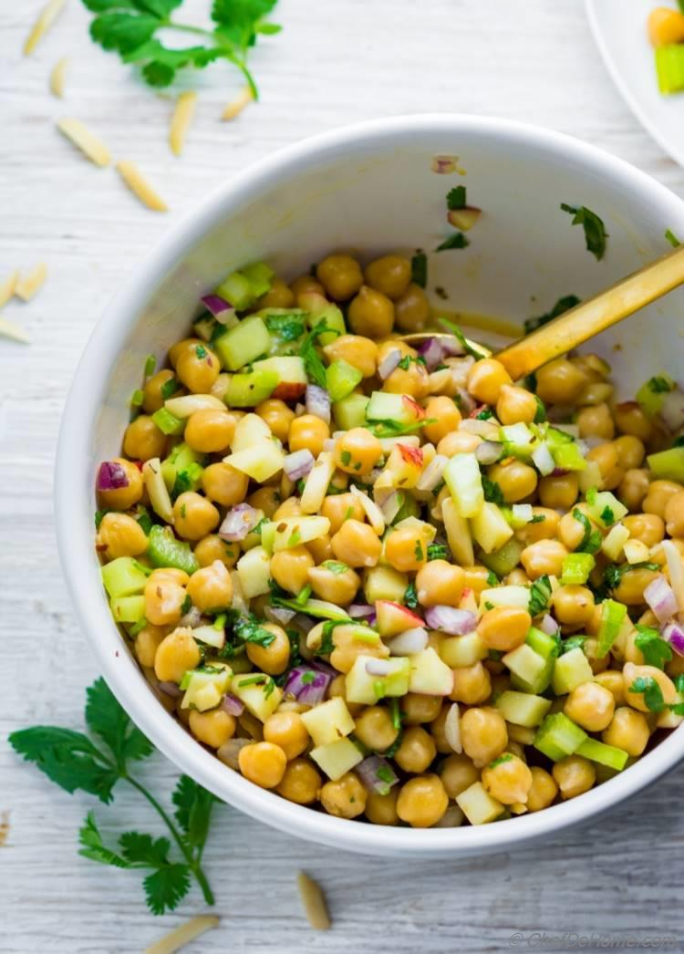 Loaded Chickpea Salad with sweet apple and crunchy celery | chefdehome.com