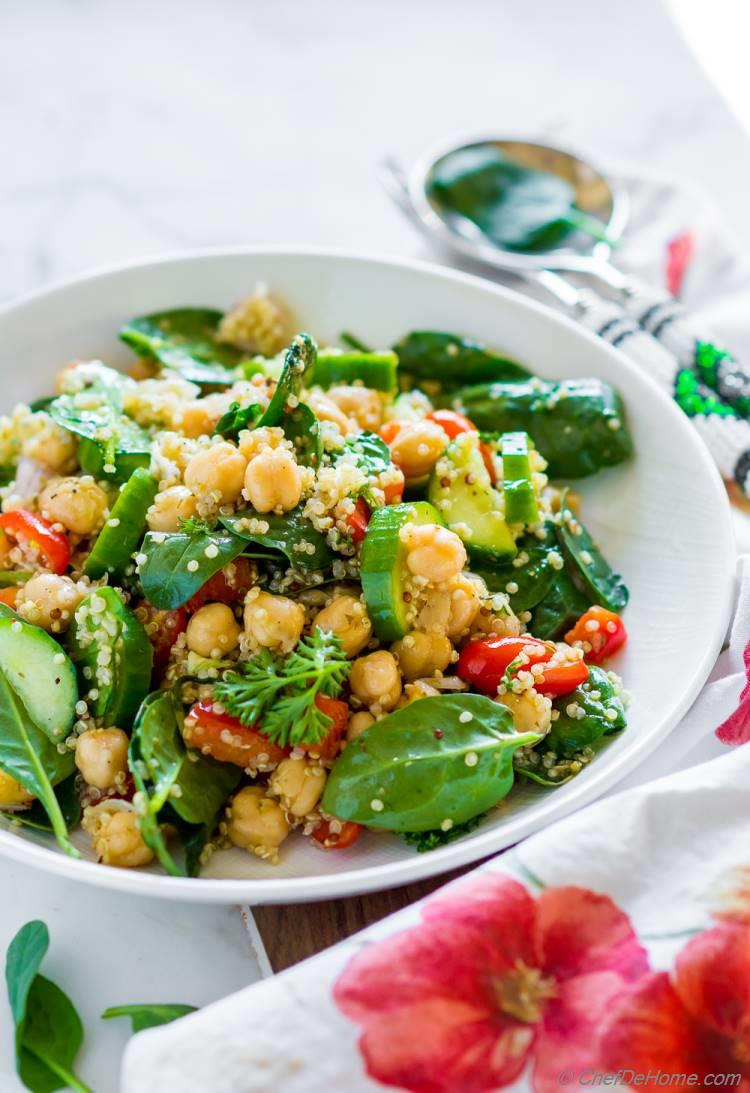 Chickpea Salad with Quinoa for healthy dinner for two or a filling dinner side