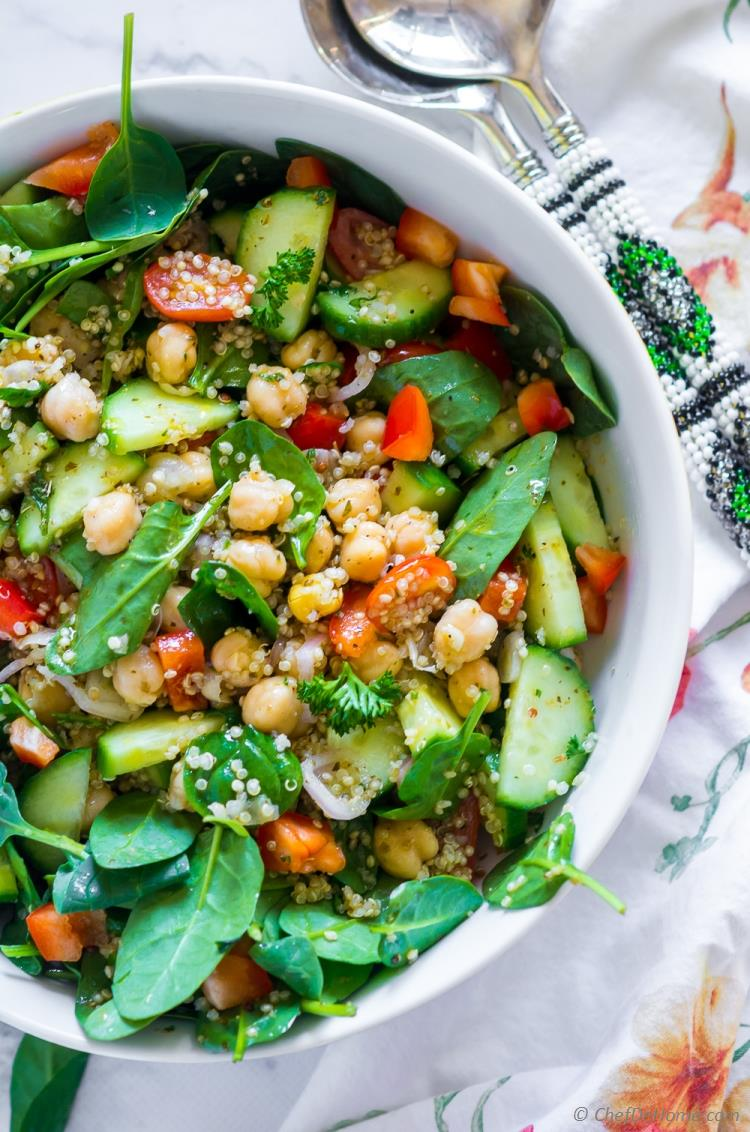 Earthy and flavorful gluten free quinoa salad with chickpeas and spinach