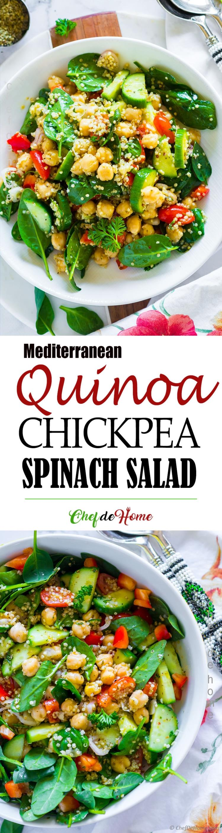 Chickpea Quinoa Spinach Salad with Greek dressing