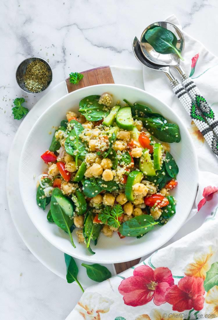 Ultimate Mediterranean Quinoa and Chickpea Salad with Spinach and Cucumber