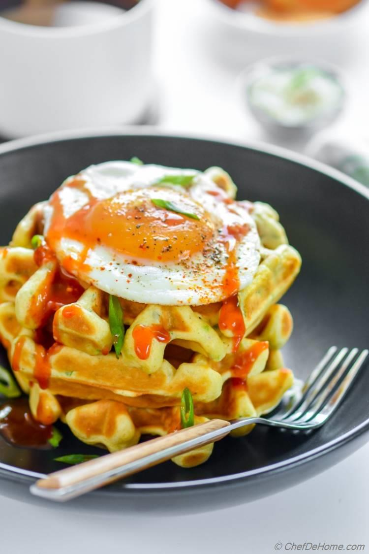 Chickpea Waffles with Scallions Herbs and a Fried Egg | chefdehome.com