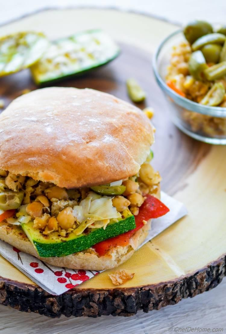 Grilled Vegetables and Chickpeas Loaded Vegetarian Sandwich for a Healthy Summer Lunch | chefdehome.com