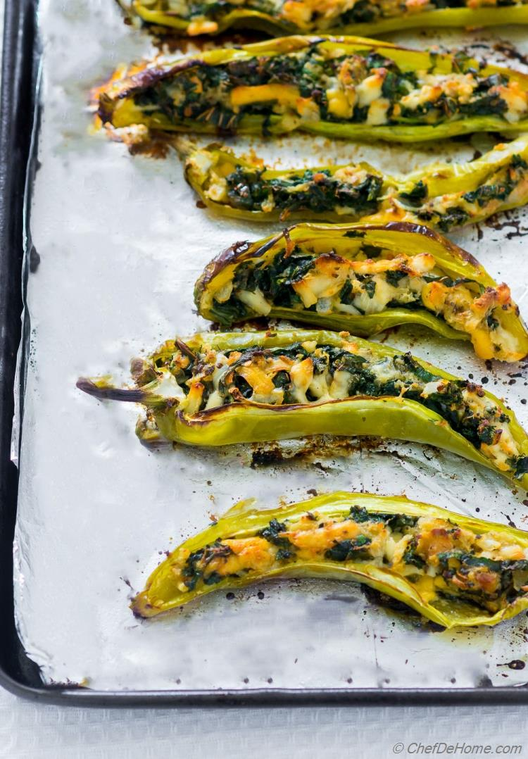 Grilled Roasted Hatch Chile stuffed with cheese and bread stuffing